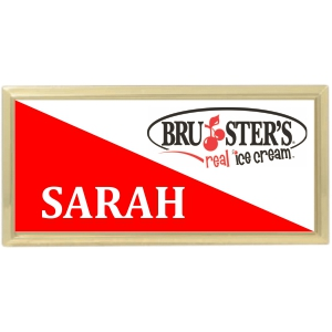 3x1-1/2 Metal Name Tag with Gold Plastic Holder