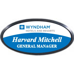 3x1-1/2 Plastic Name Tag with Black Plastic Oval Holder