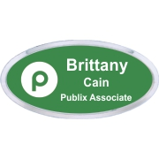 Oval Name Tag with Silver Holder