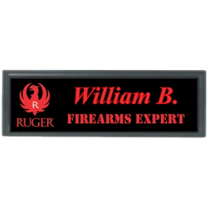 3x1 Metal Name Tag with Black Plastic Holder
