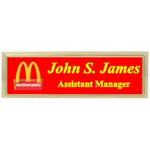 3x1 Metal Name Tag with Gold Plastic Holder